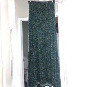 Lularoe blue and green paisley maxi skirt